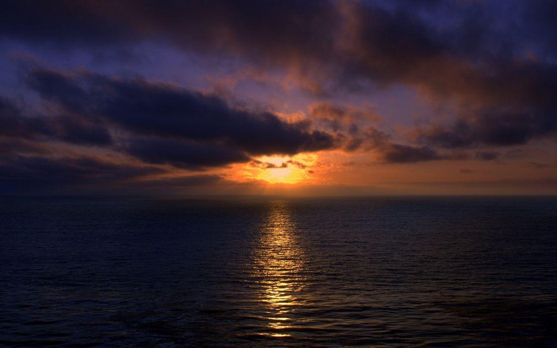 Sunset over ocean wallpaper