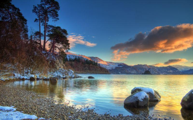 Sunset over winter lake wallpaper