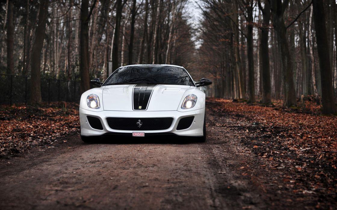 White Ferrari 599 GTO wallpaper