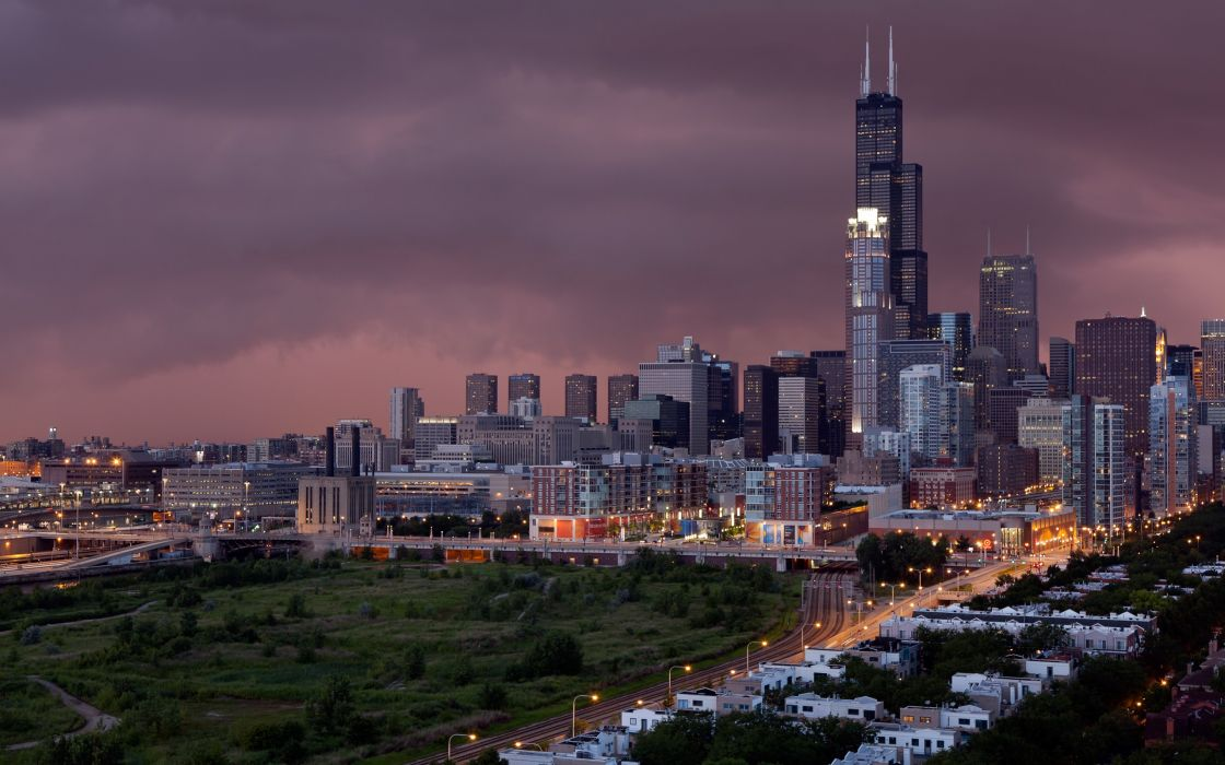 Sunset and storm in Chicago wallpaper