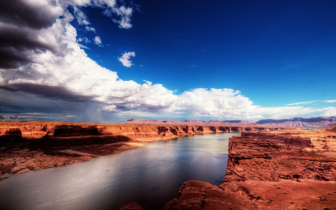 River in the desert wallpaper