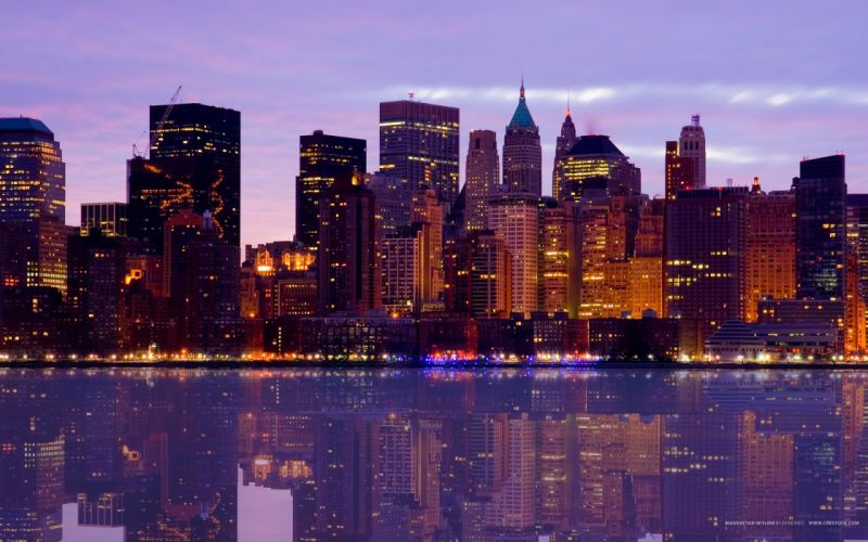 City skyline reflected on the river wallpaper