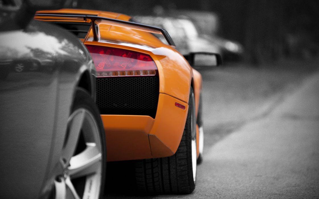 Orange Lamborghini rear wallpaper