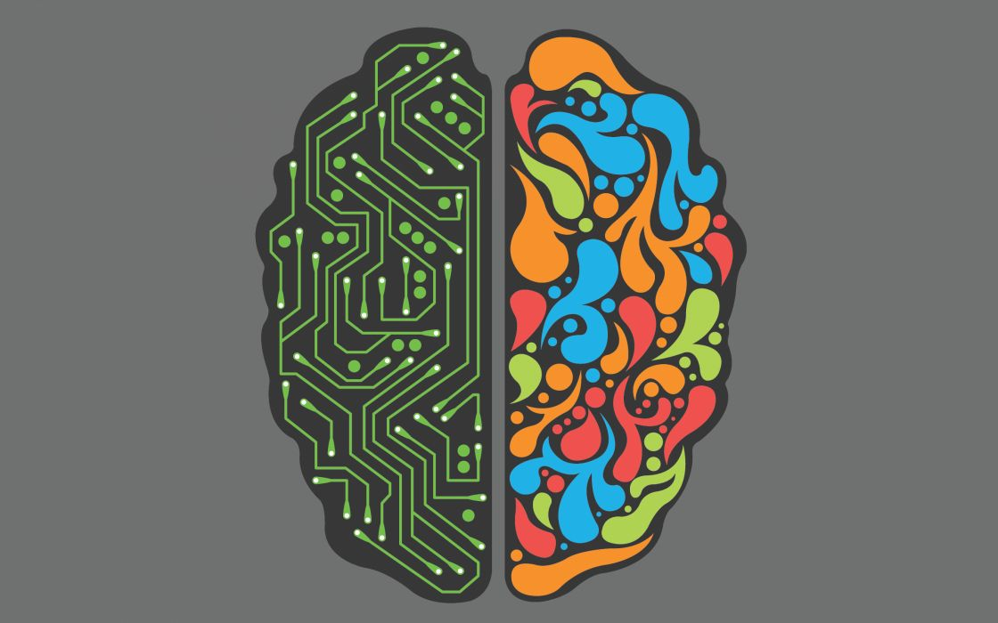 The two sides of the brain wallpaper