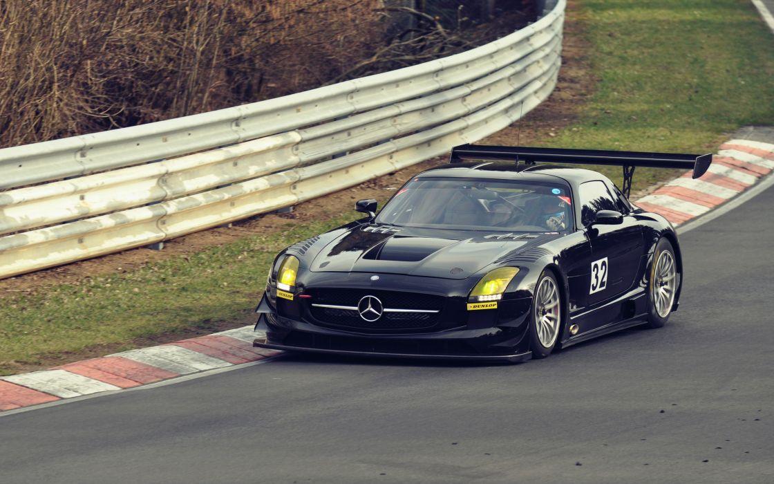 Black Mercedes SLS AMG wallpaper