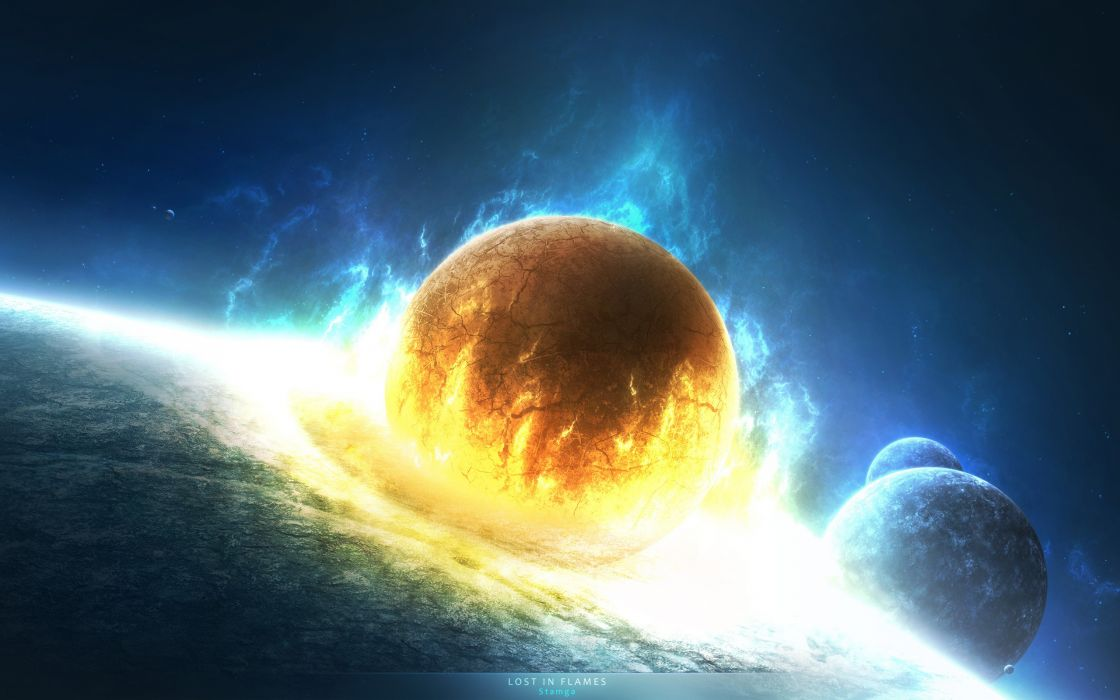 Lost in flames space collision wallpaper