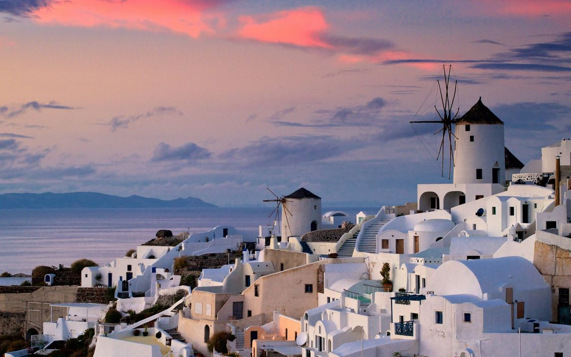 Sunset in Oia Greece wallpaper