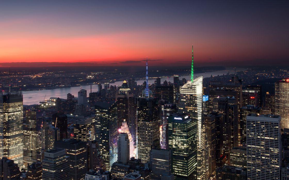 New York arial city sunset wallpaper