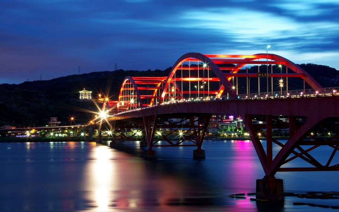 Bright bridge at night wallpaper