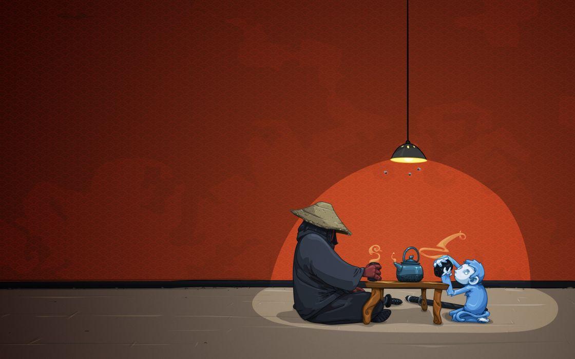 Samurai monkey - A tea for two wallpaper