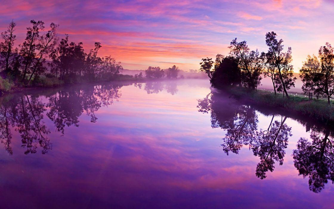 Foggy river wallpaper