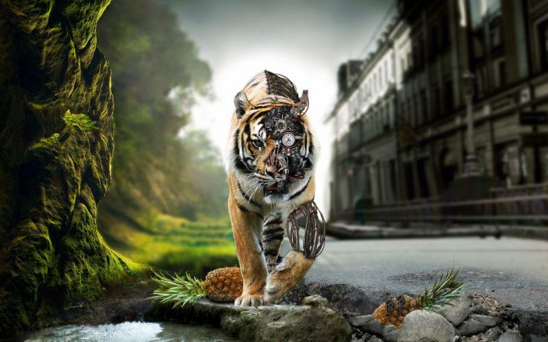 Futuristic tiger wallpaper