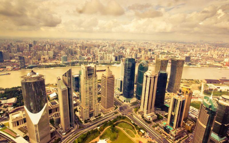 Panorama city skyscrapers wallpaper