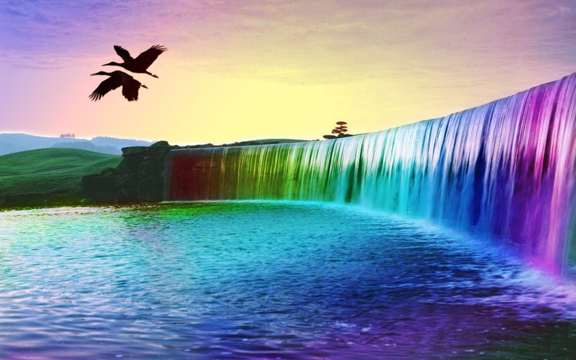 Rainbow waterfalls wallpaper