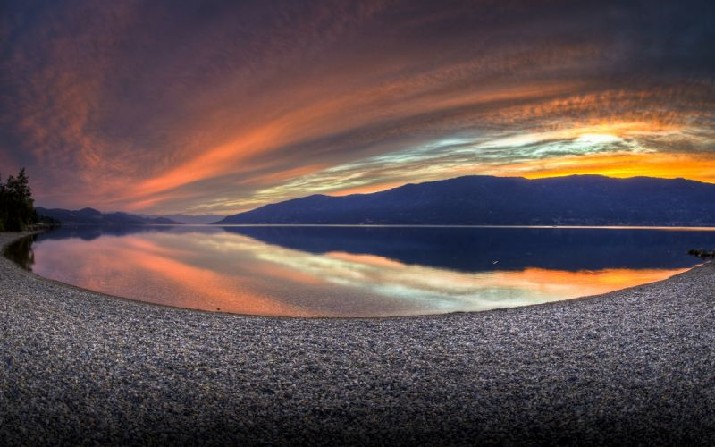 Mountain lake shore wallpaper