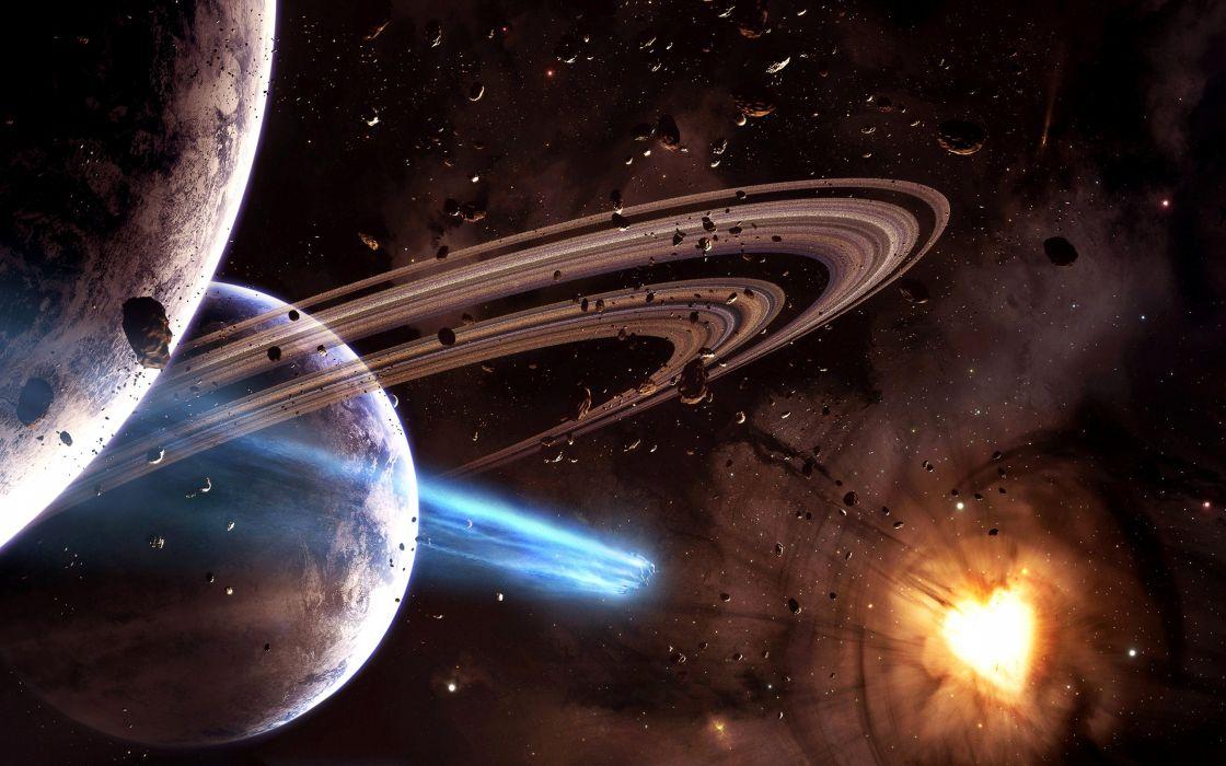 Meteorites in the space - art wallpaper
