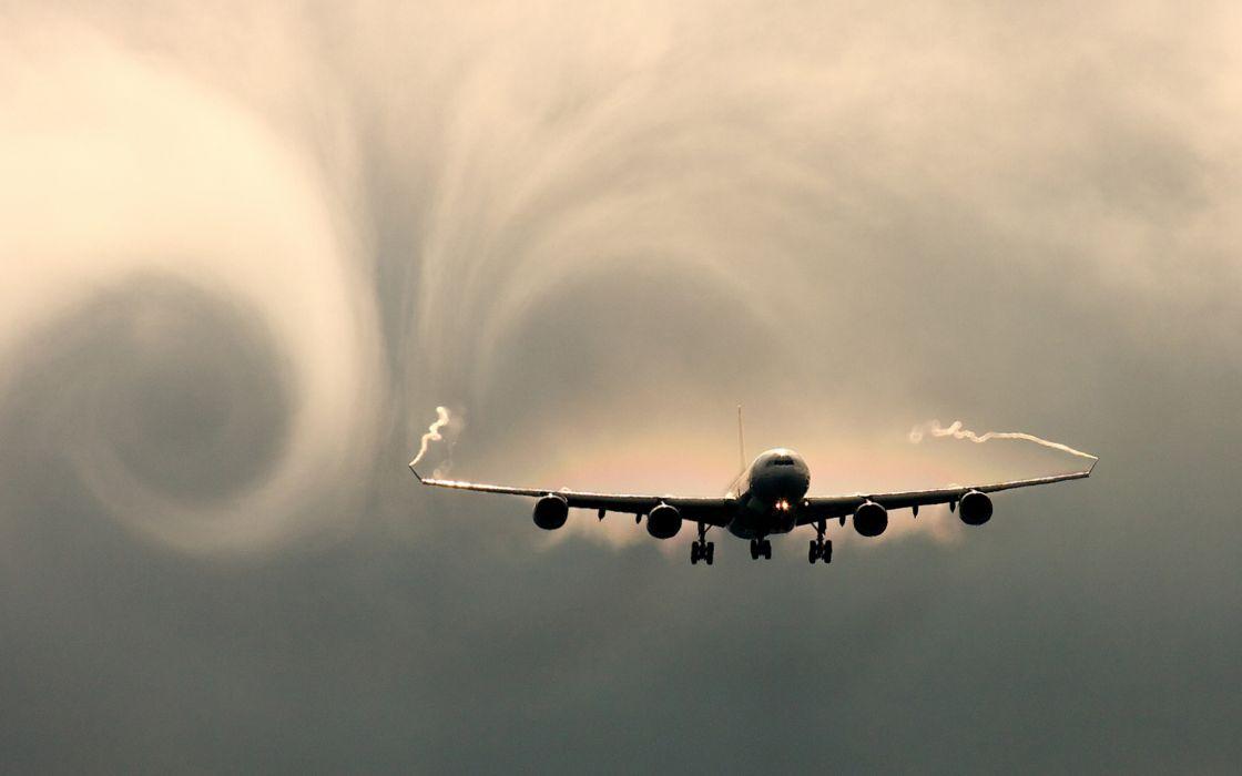 Vortex created by an airplane in flight wallpaper
