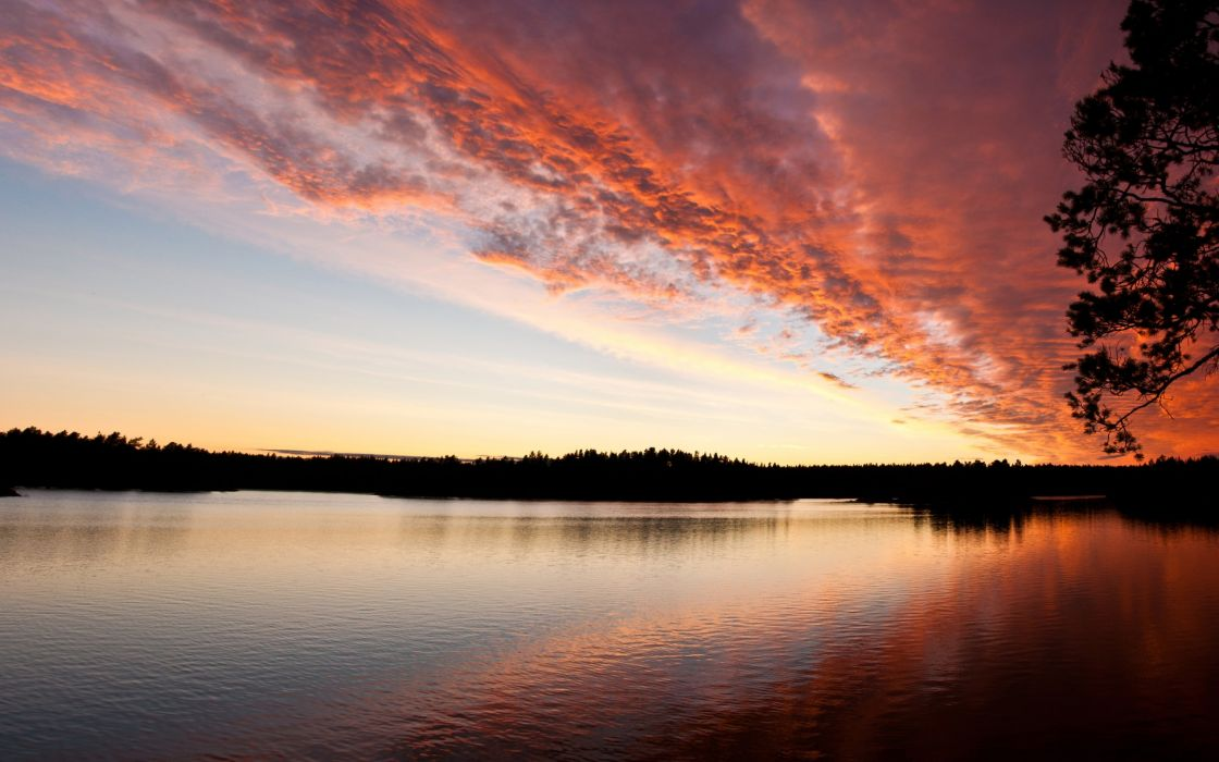 Red sky cloud reflection on water wallpaper