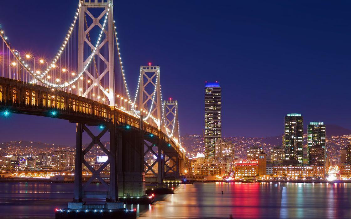A bridge toward the city lights wallpaper