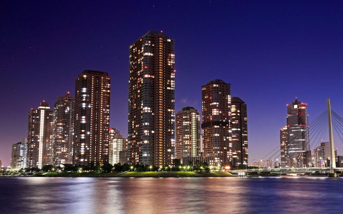 City skyscrapers at night wallpaper