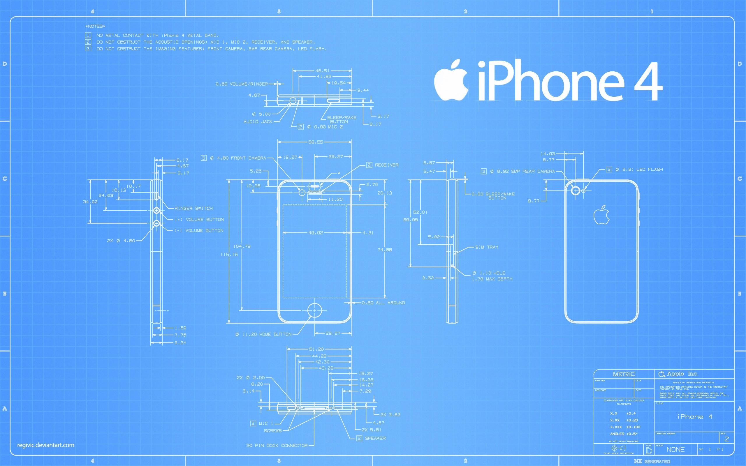 Apple iPhone 4 blueprint wallpaper