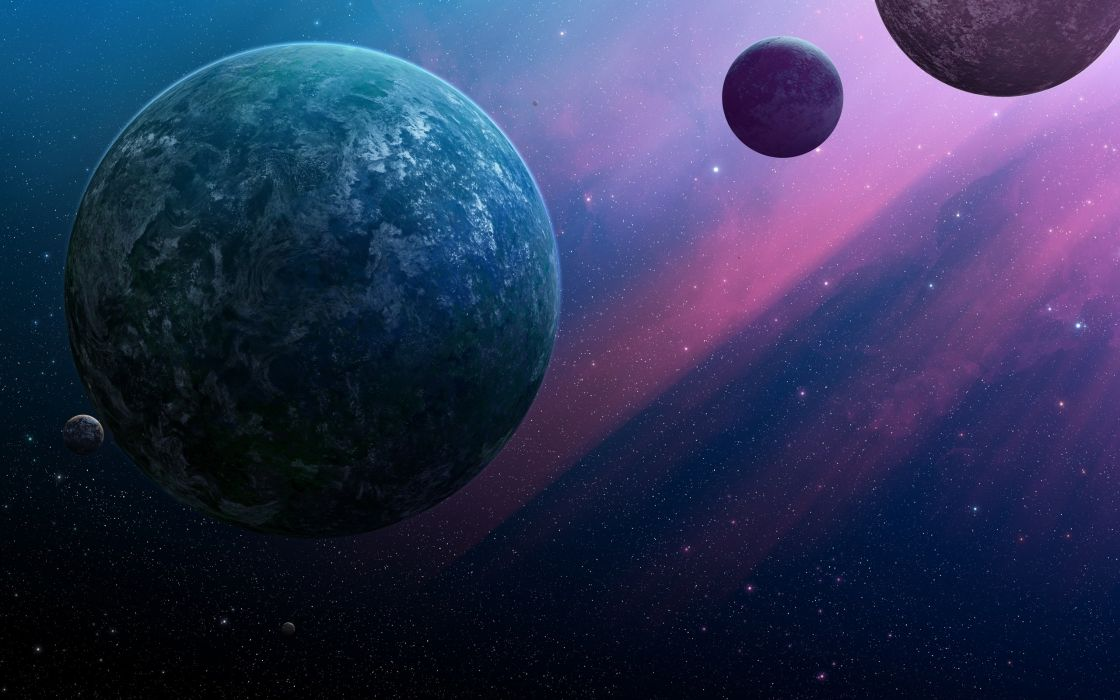 Planets in a purple space - artwork wallpaper