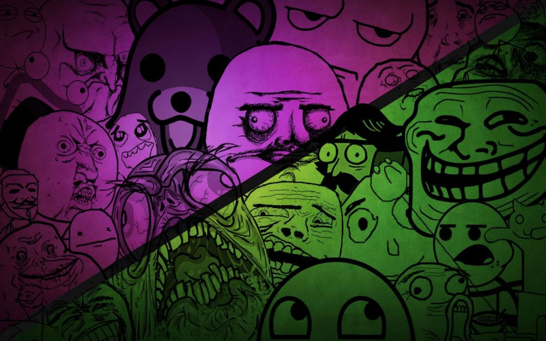 Purple and green memes collection wallpaper