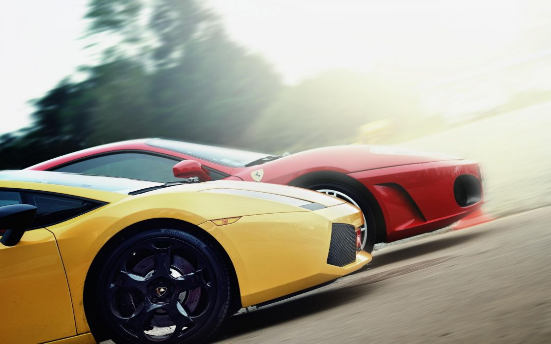 Racing Lamborghini and Ferrari wallpaper
