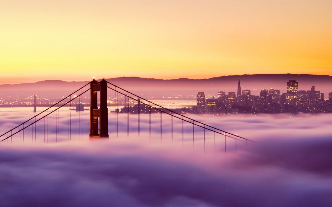 Golden Gate bridge in the fog - San Francisco wallpaper
