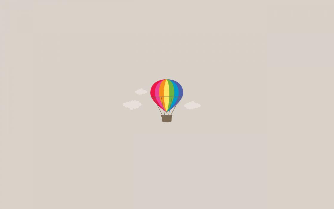 Minimalistic rainbow coloured hot-air balloon wallpaper