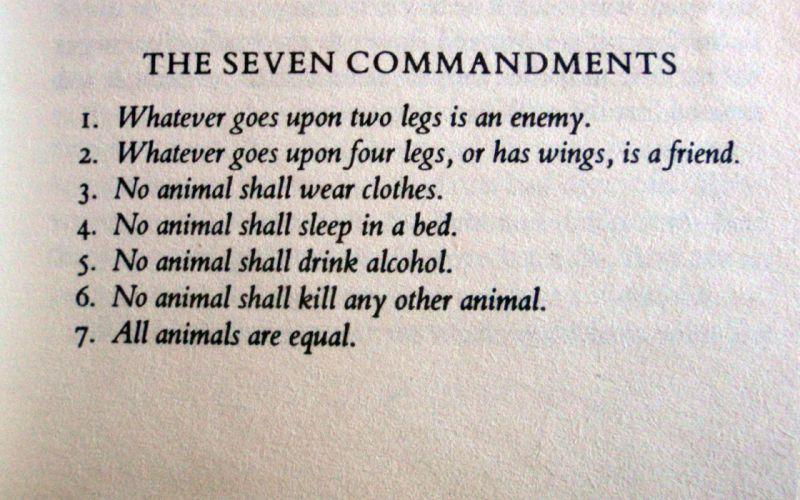 The seven commandments - George Orwell quotes wallpaper