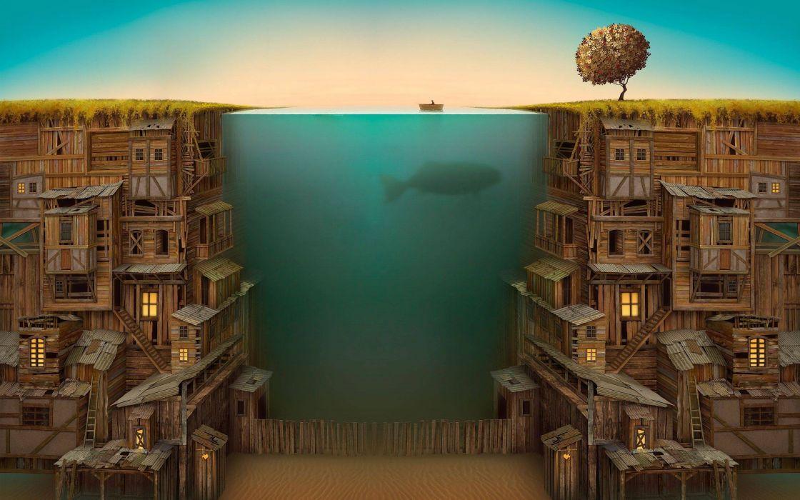 Ocean between a wooden city wallpaper
