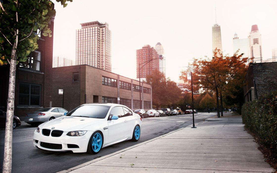 White BMW M3 in the street wallpaper