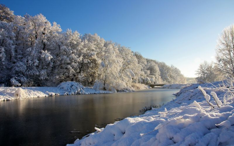Winter river wallpaper