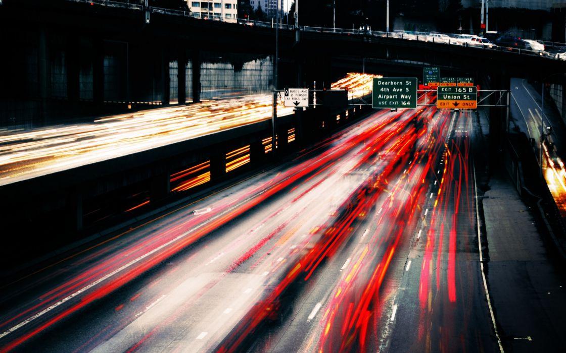 Car lights long exposure wallpaper