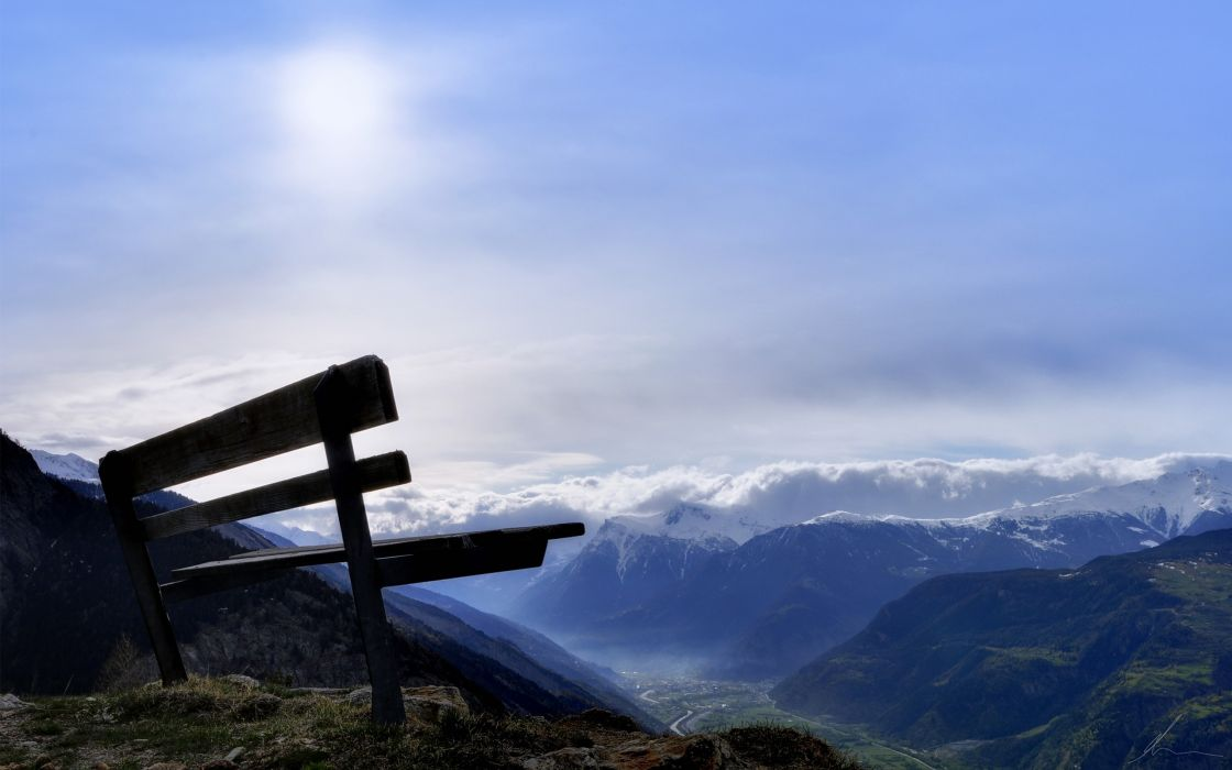 Bench at the top of the mountain wallpaper