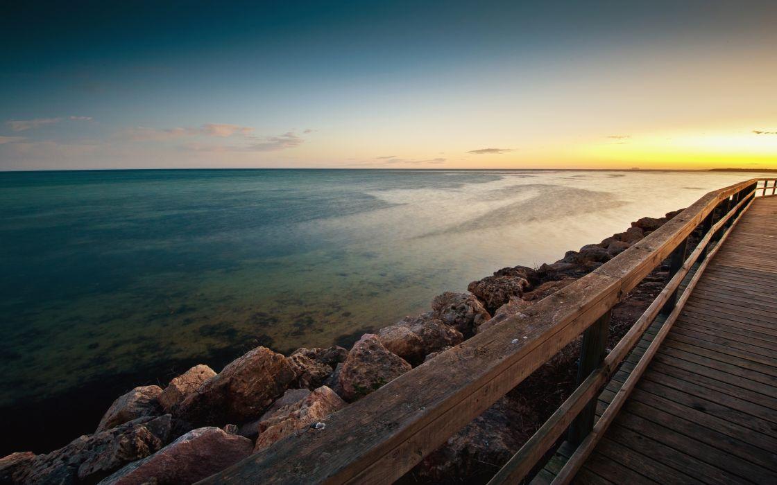 Sea wood cliff wallpaper