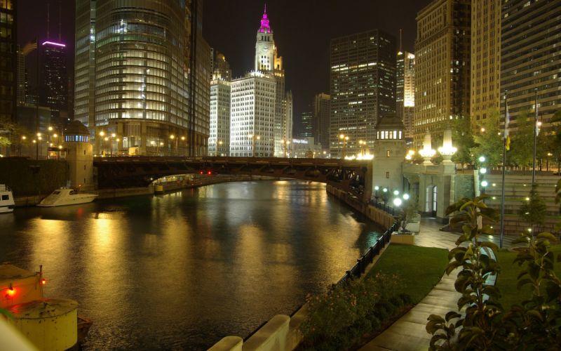 Illinois night view wallpaper
