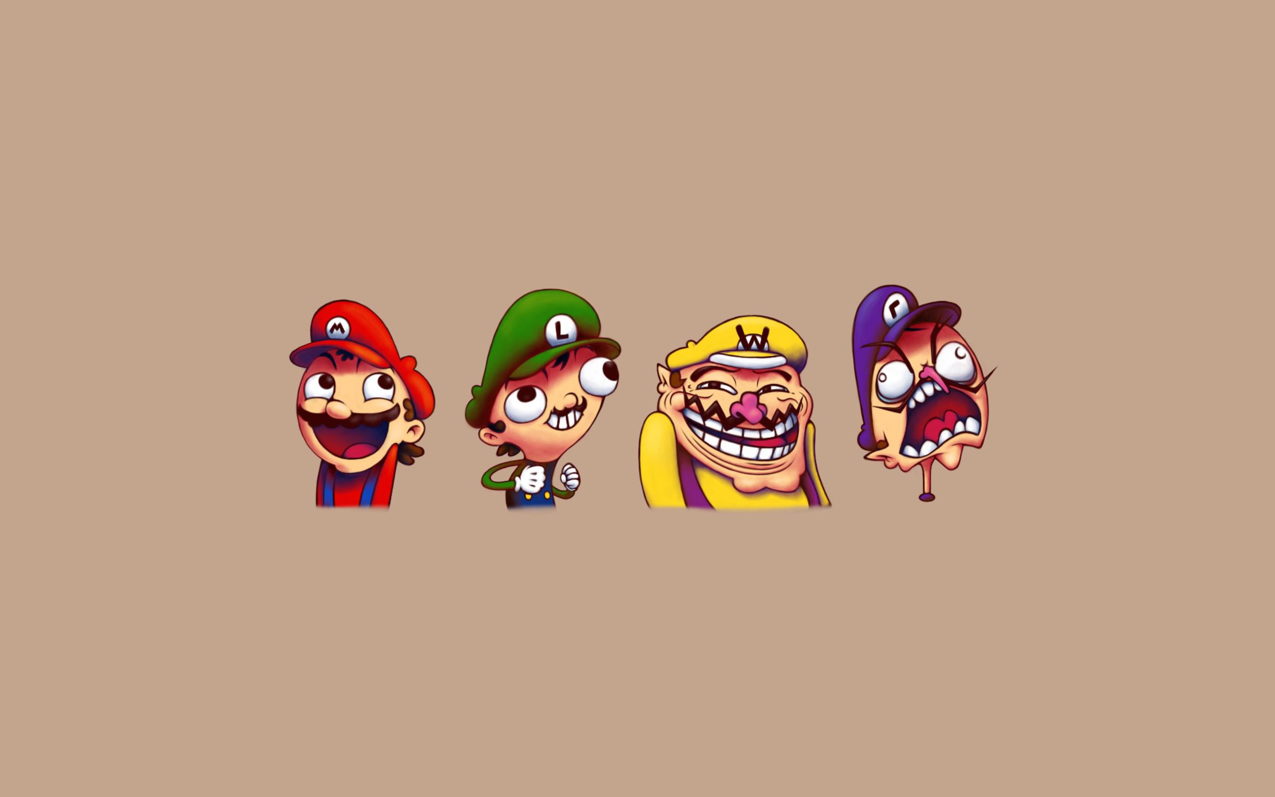 Super mario troll face wallpaper 2560x1600 3159 wallpaperup voltagebd Image collections