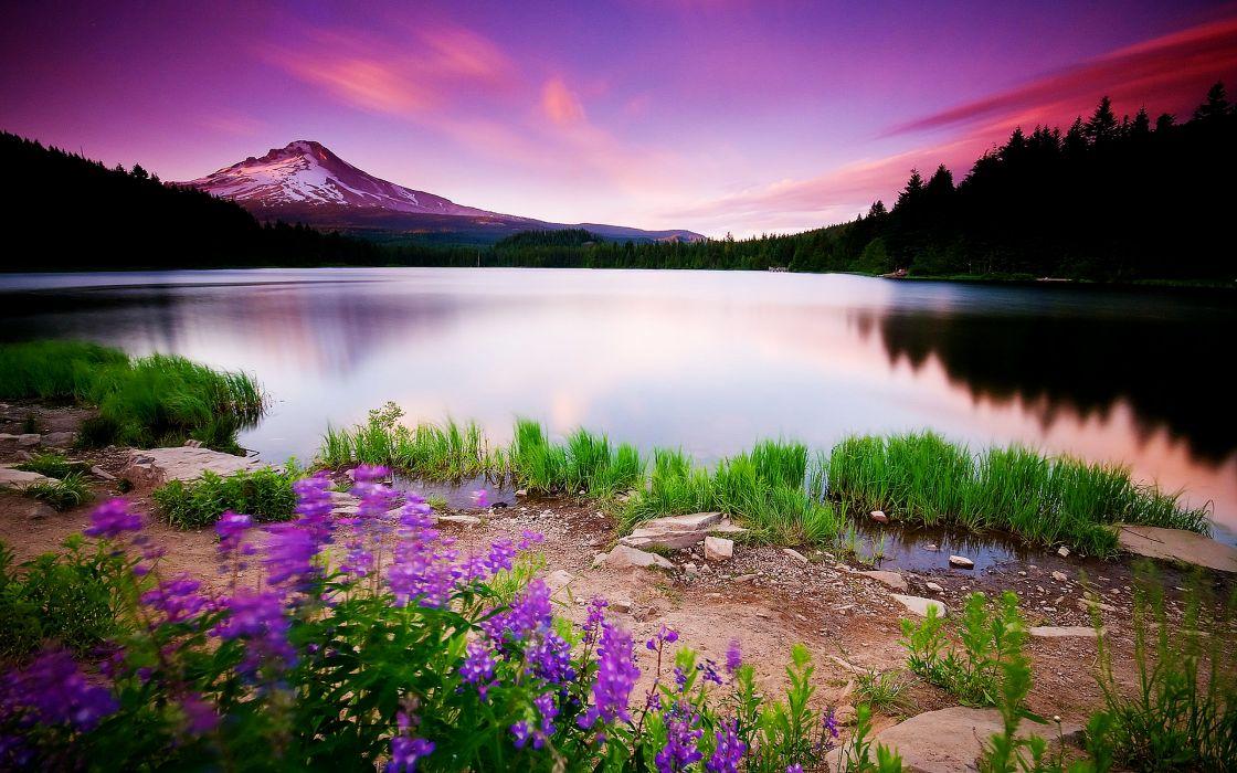 Mountain Lake And Sunset wallpaper