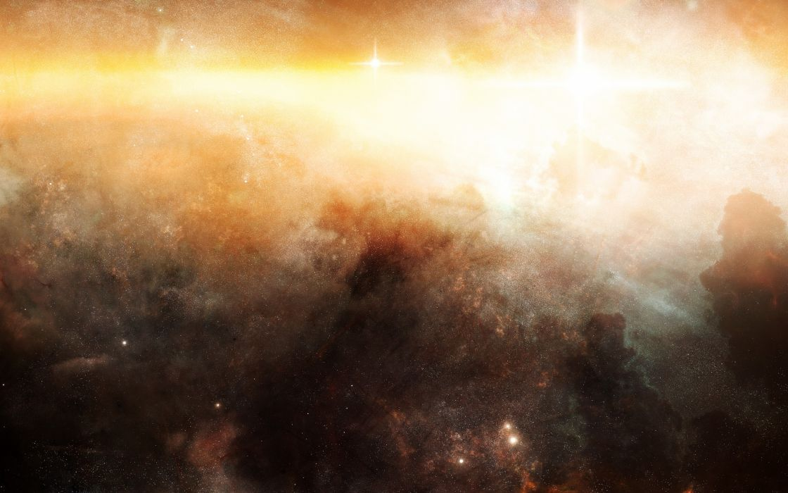 Golden nebula wallpaper