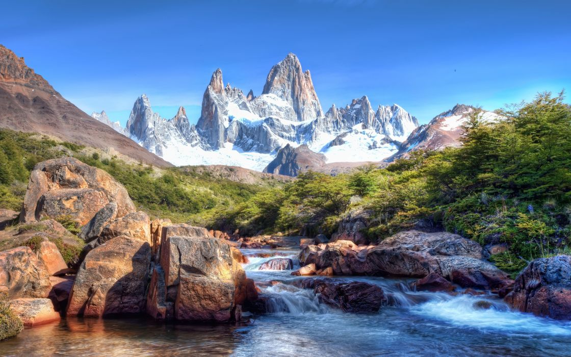 Mountains And River Hdr wallpaper