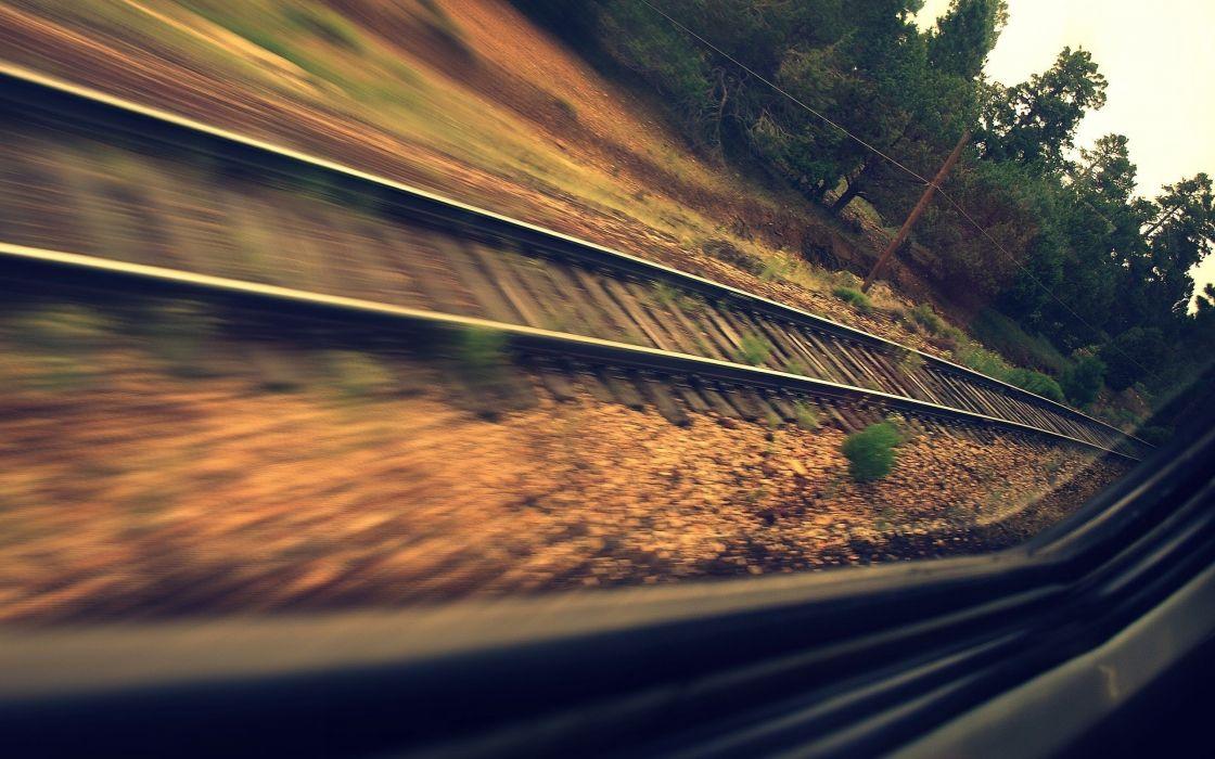 Train rails from the window wallpaper