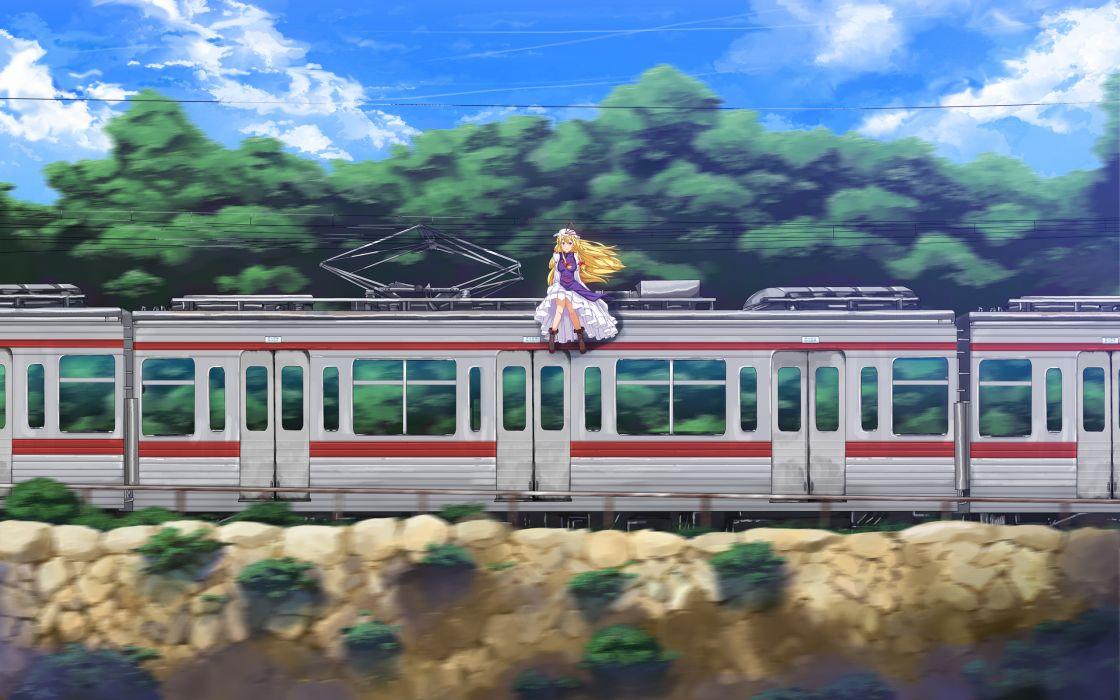 Yakumo Yukari Sitting On The Train wallpaper