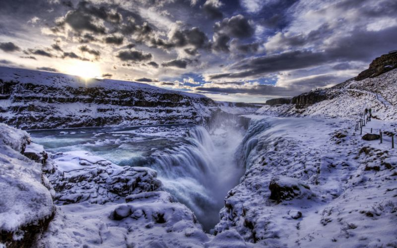 The Waterfall Crevice - Iceland wallpaper