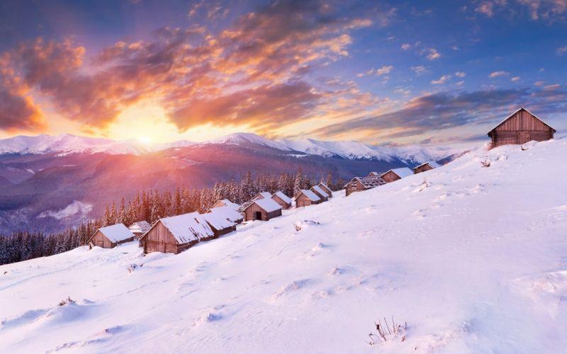 Winter Beautiful Sunset wallpaper