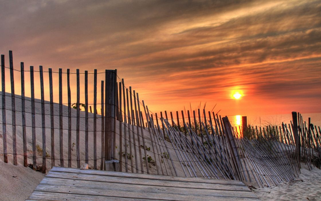 Fence in the beach wallpaper