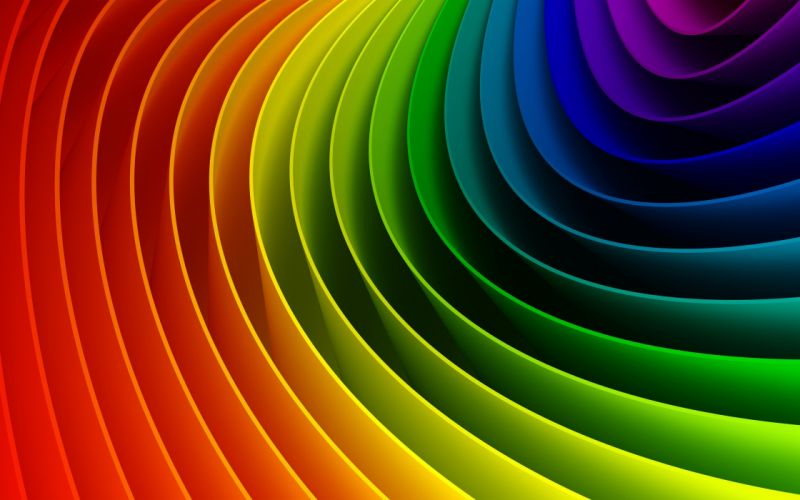 Curved colorful rainbow wallpaper