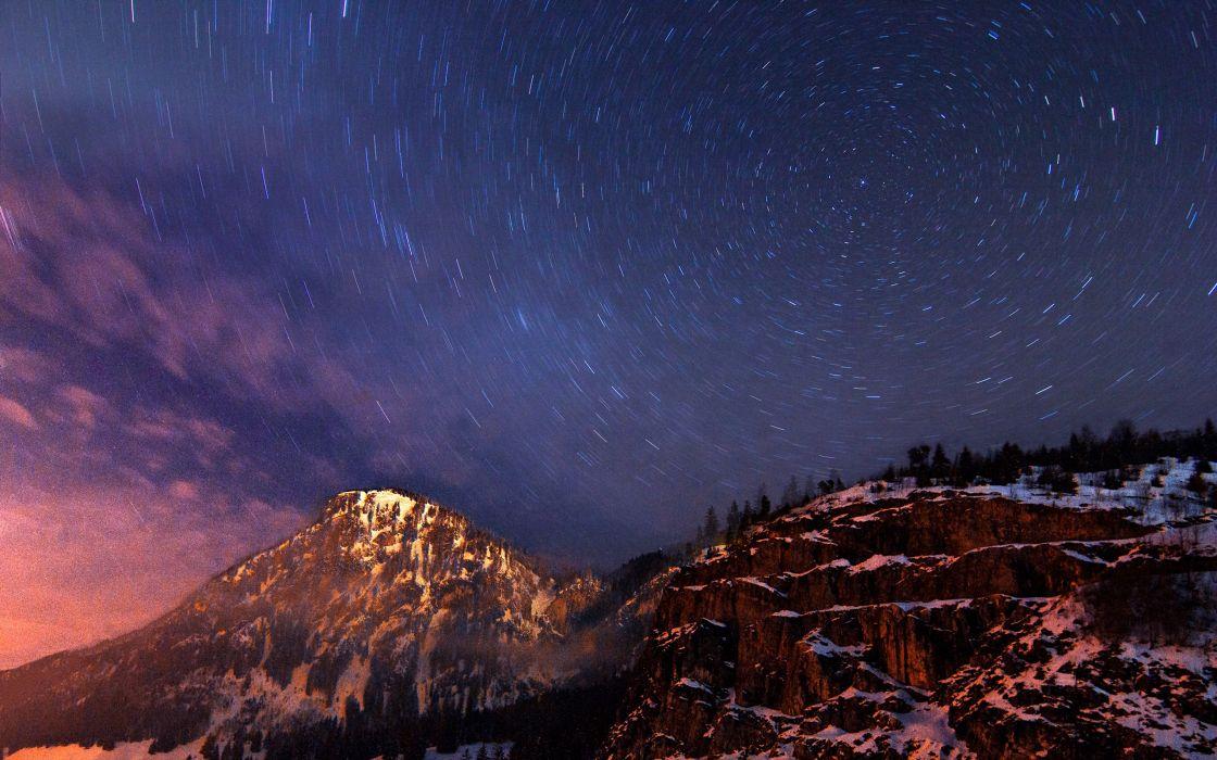 Milky Way circular star trails wallpaper
