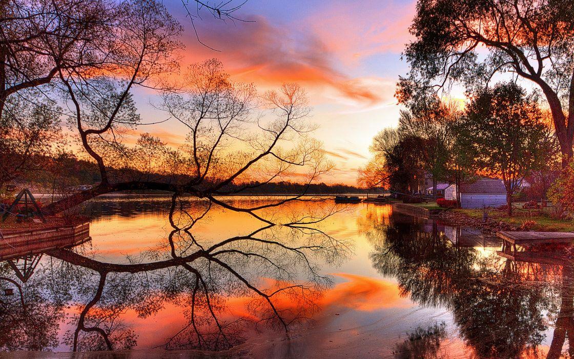 Orange sunset at the lake wallpaper